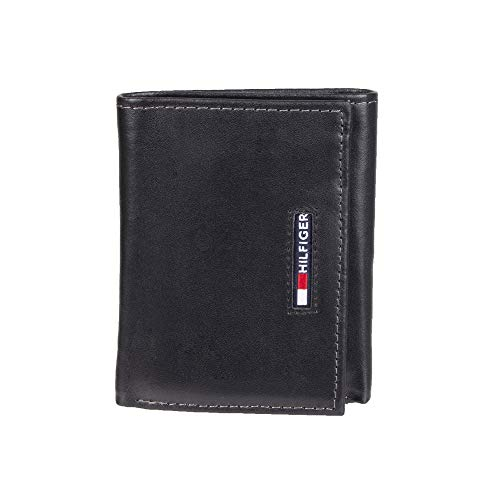 Mens Leather Trifold Leather 9 Credit cards and 2 IDs Classic Style Wallet Black